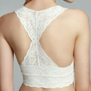 Free People Lace Racerback Galloon Ivory Bra Small